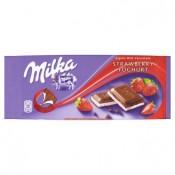 Milka Mléčná čokoláda z alpského mléka s náplní s jahodovo-jogurtovou příchutí 100g
