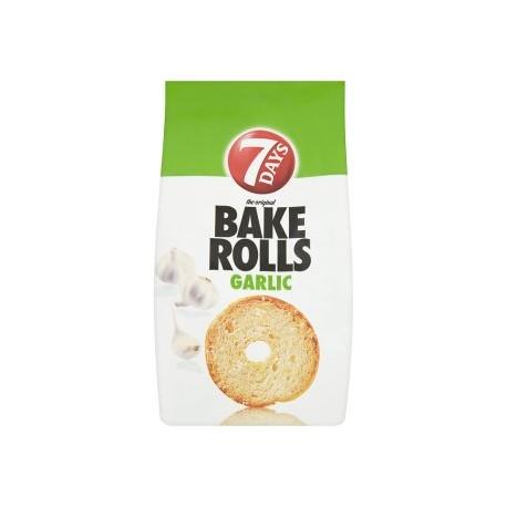7 Days Bake Rolls Křupavé chlebové chipsy s příchutí česneku 80g
