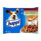 Chappi Hovězí maso & hovězí a drůbeží maso kompletní krmivo pro dospělé psy 4 x 100g