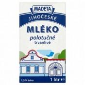 Trvanlivé mléko - polotučné 1,5% (Madeta, Kunín, Tatra)